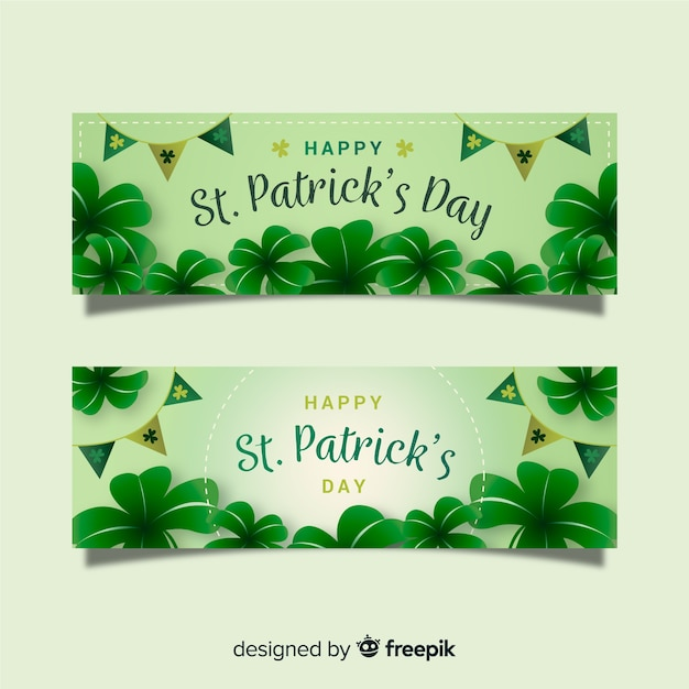 Platte st. patrick's dag banner Gratis Vector