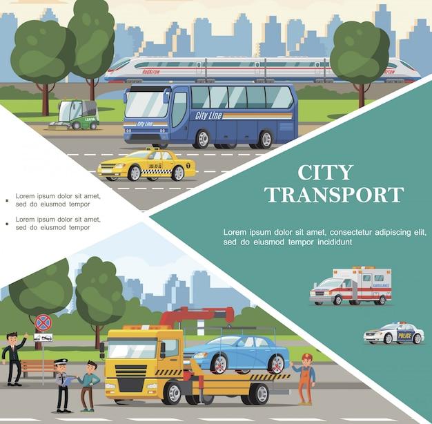 Platte stad vervoer sjabloon met bus ambulance politie taxi's auto veegwagen sleepwagen evacuerende auto Gratis Vector