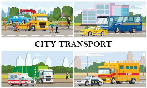 Platte stadsvervoer samenstelling met taxi ambulance politieauto's bus vuilnis brand en sleepwagens Gratis Vector