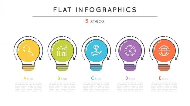 Platte stappen tijdlijn infographic sjabloon. Premium Vector