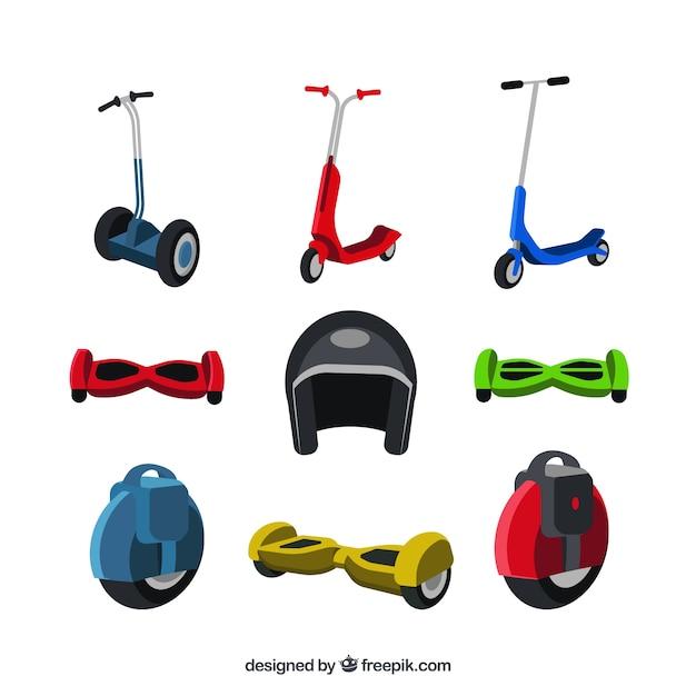 Platte stedelijke scooters collectie Gratis Vector