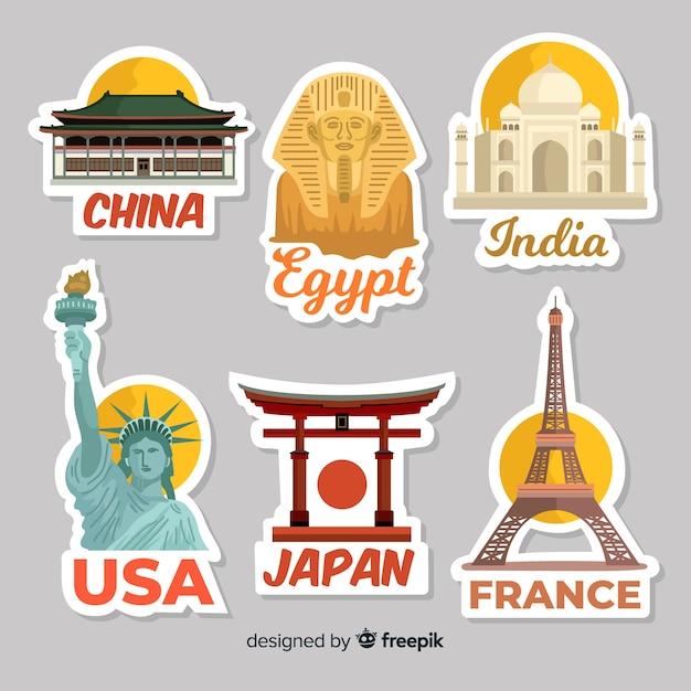 Platte stickercollectie voor reizen Gratis Vector
