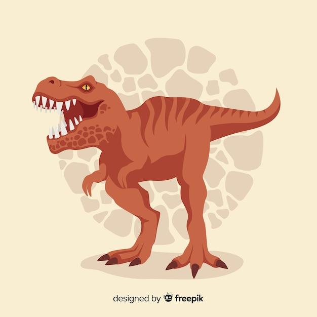 Platte t-rex achtergrond Gratis Vector