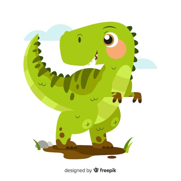 Platte t-rex dinosaurus achtergrond Gratis Vector