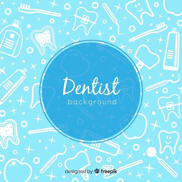 Platte tandarts achtergrond Premium Vector