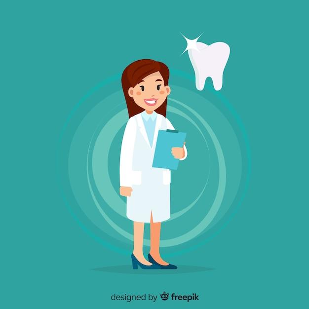 Platte tandarts karakter Gratis Vector