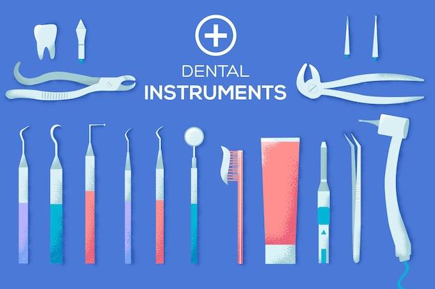 Platte tandheelkundige instrumenten illustratie. Premium Vector