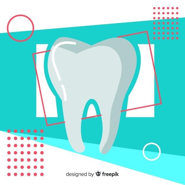 Platte tandheelkundige kliniek achtergrond Gratis Vector