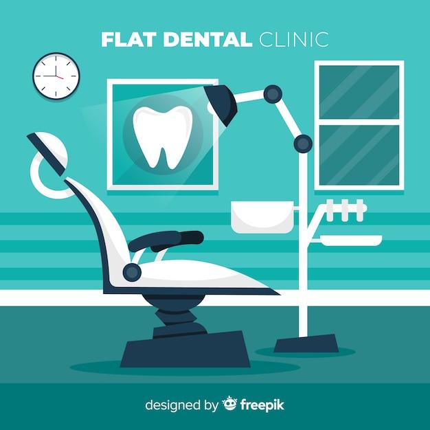 Platte tandheelkundige kliniek stoel achtergrond Gratis Vector