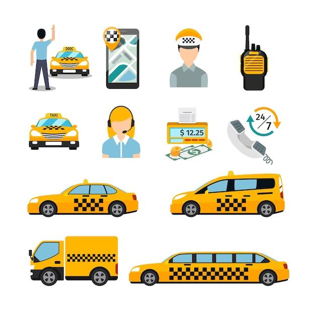 Platte taxi pictogrammen. vervoersdienst. cabine en voertuig, autoverkeer. Gratis Vector