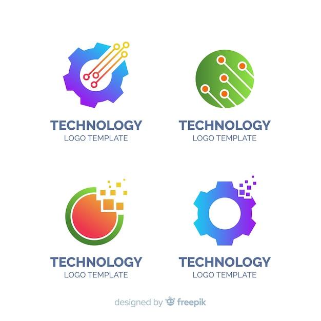 Platte technologie logo collectie Gratis Vector