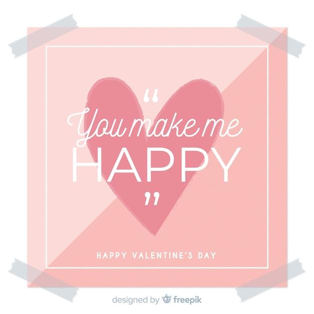 Platte teken valentine achtergrond Gratis Vector