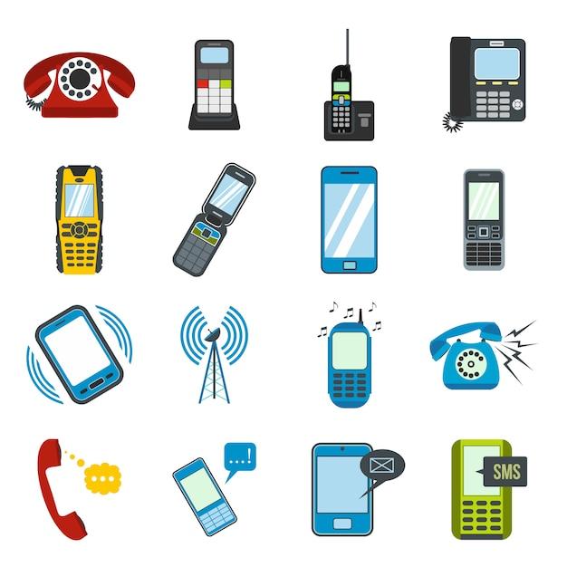 Platte telefoonelementen instellen voor web en mobiele apparaten Premium Vector