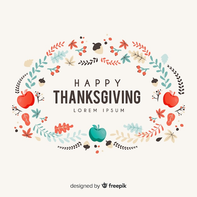 Platte thanksgiving achtergrond met appels en bladeren Gratis Vector