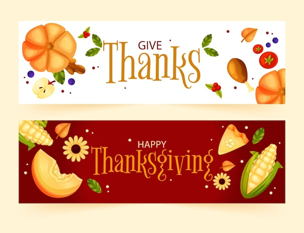 Platte thanksgiving banners Gratis Vector