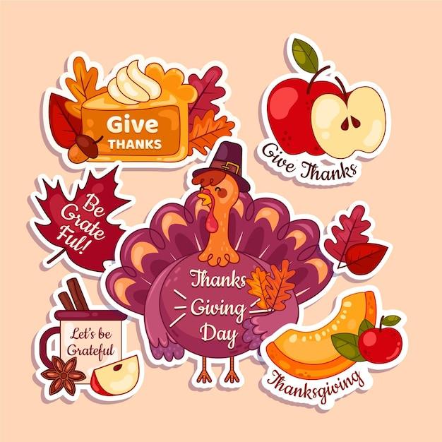 Platte thanksgiving labelcollectie Gratis Vector