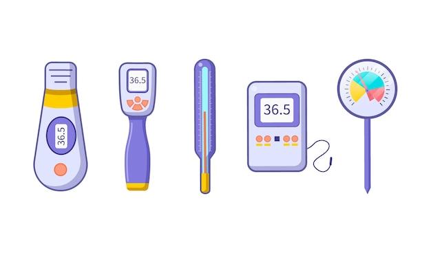 Platte thermometer typen illustratie Gratis Vector