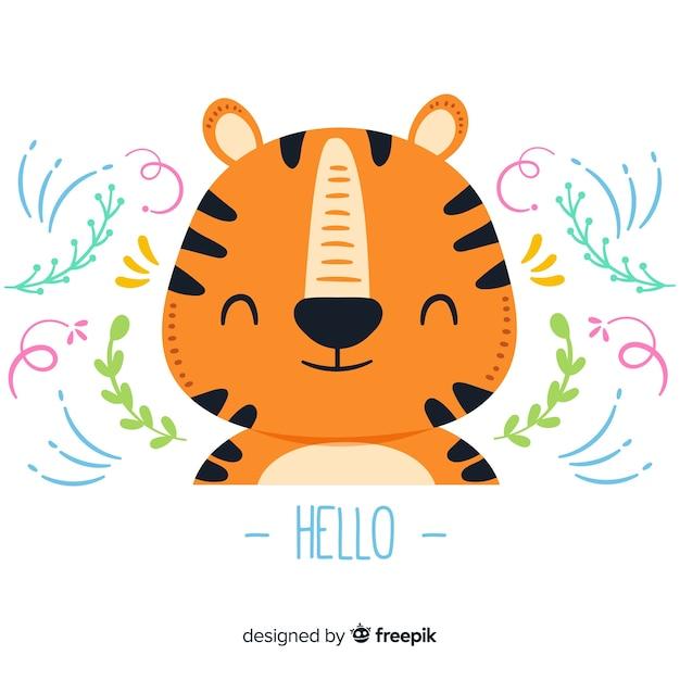 Platte tijgerkop Gratis Vector