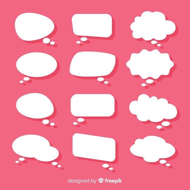 Platte toespraak bubble collectie op papier stijl roze achtergrond Gratis Vector