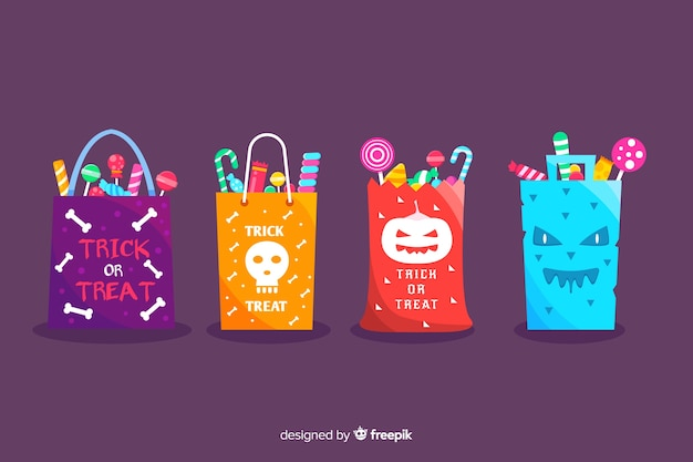 Platte trick or treat halloween tassencollectie Gratis Vector