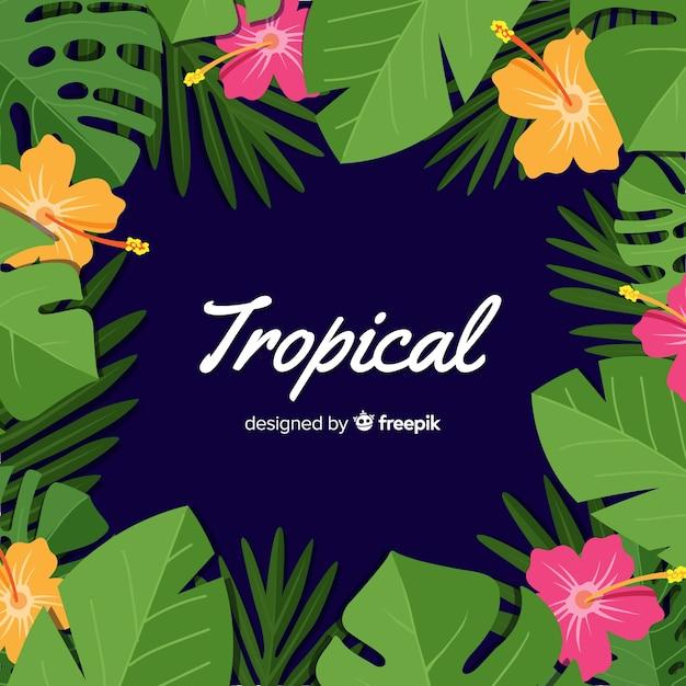 Platte tropische achtergrond Gratis Vector