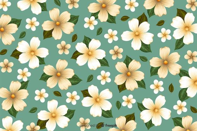 Platte tropische bloem patroon achtergrond Gratis Vector