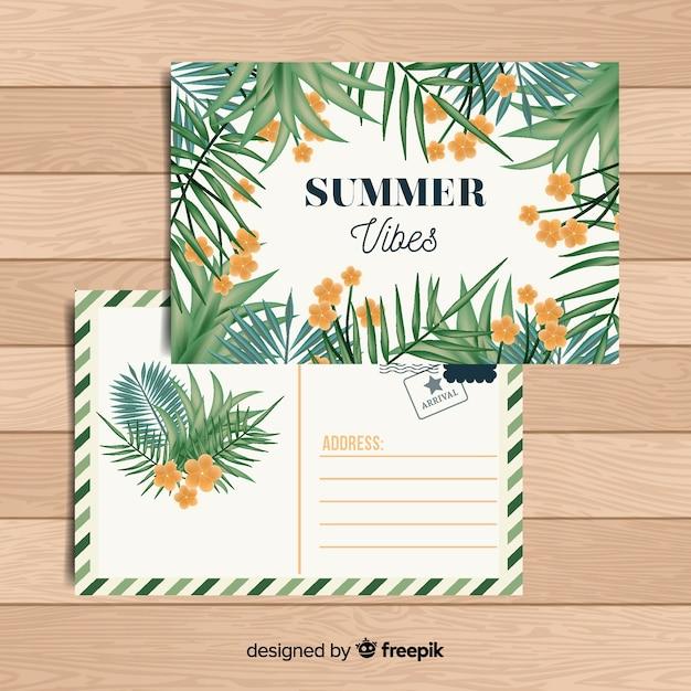 Platte tropische zomervakantie briefkaart Gratis Vector