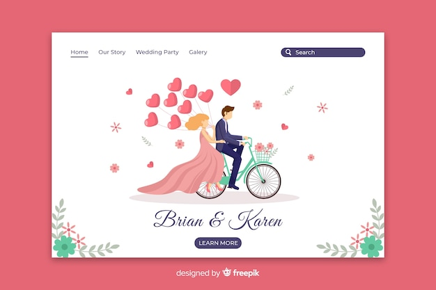 Platte trouwpagina van het paarhuwelijk Gratis Vector
