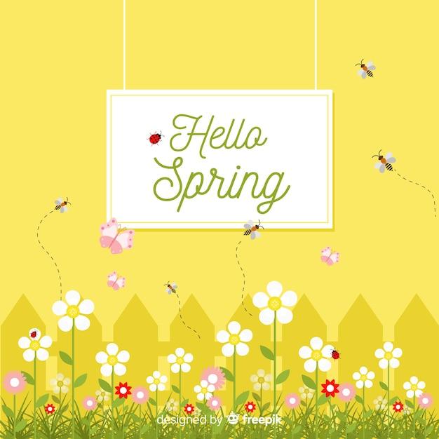 Platte tuin lente achtergrond Gratis Vector