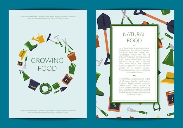 Platte tuinieren pictogrammen kaart of folder Premium Vector