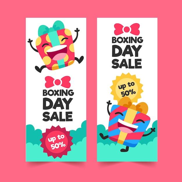 Platte tweede kerstdag verkoop banners Gratis Vector