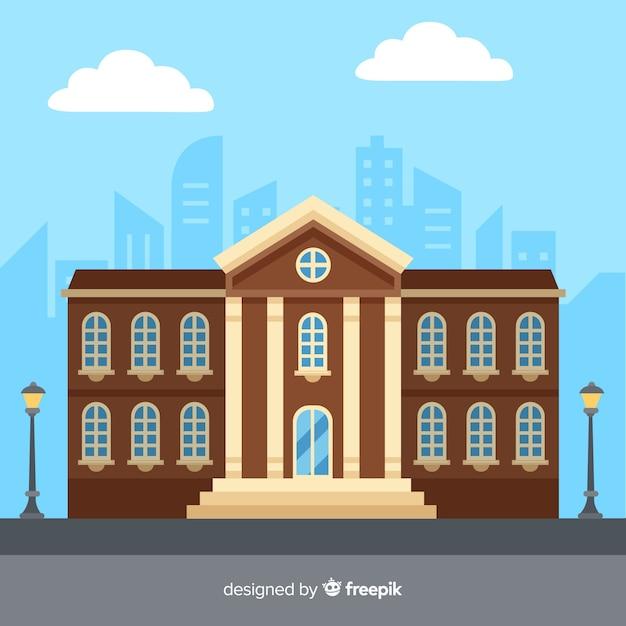 Platte universiteitsgebouw achtergrond Gratis Vector