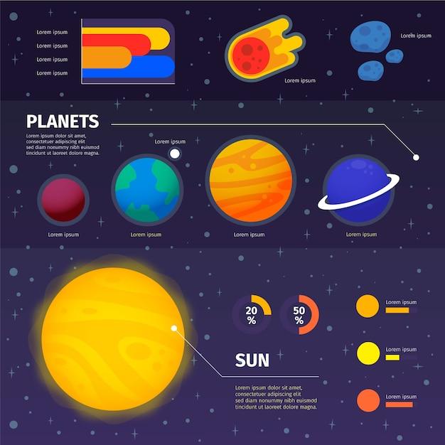 Platte universum infographic en tekst ruimte Gratis Vector