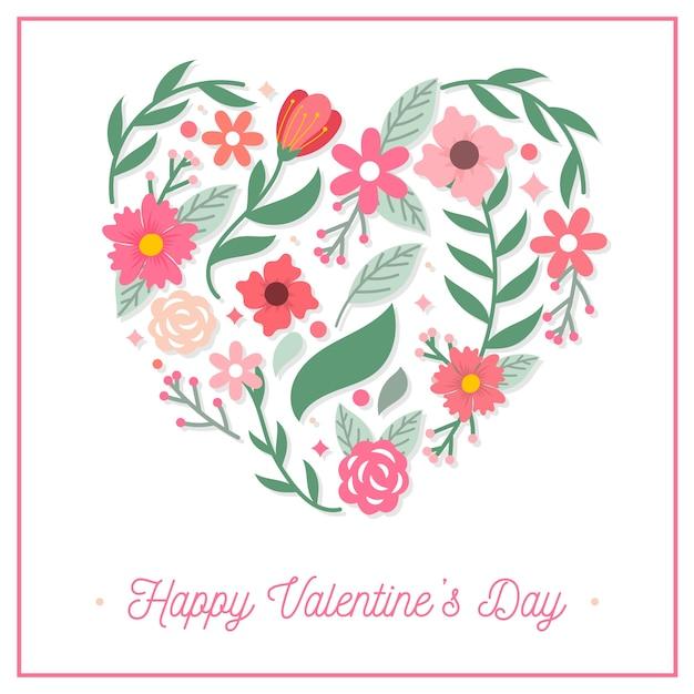 Platte valentijnsdag achtergrond met bloemen Gratis Vector