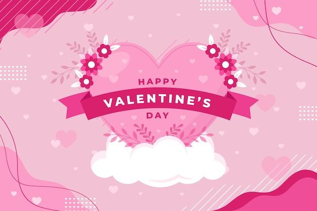 Platte valentijnsdag achtergrond Gratis Vector