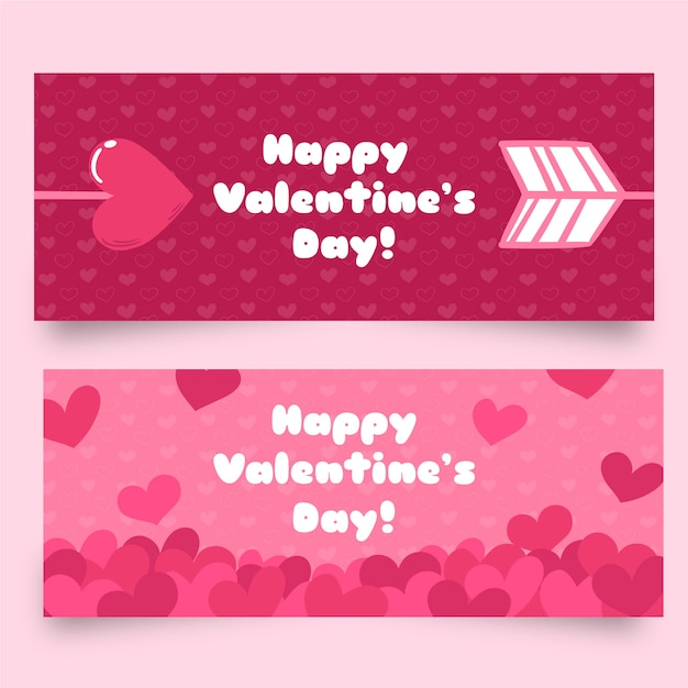 Platte valentijnsdag banners met pijlen en harten Gratis Vector