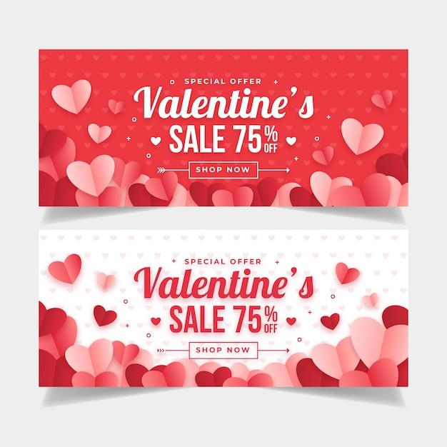 Platte valentijnsdag banners ontwerpsjabloon Gratis Vector