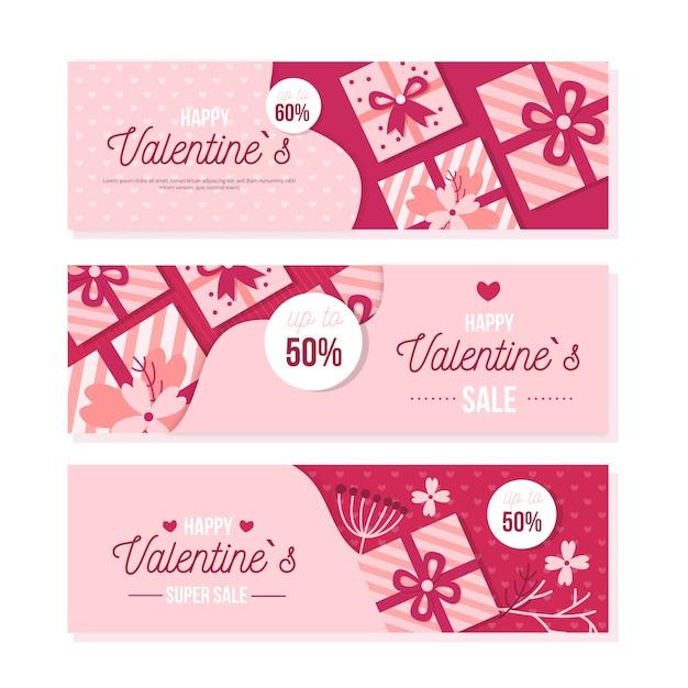 Platte valentijnsdag banners Gratis Vector