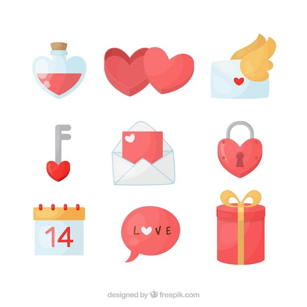 Platte valentijnsdag element collectie Gratis Vector