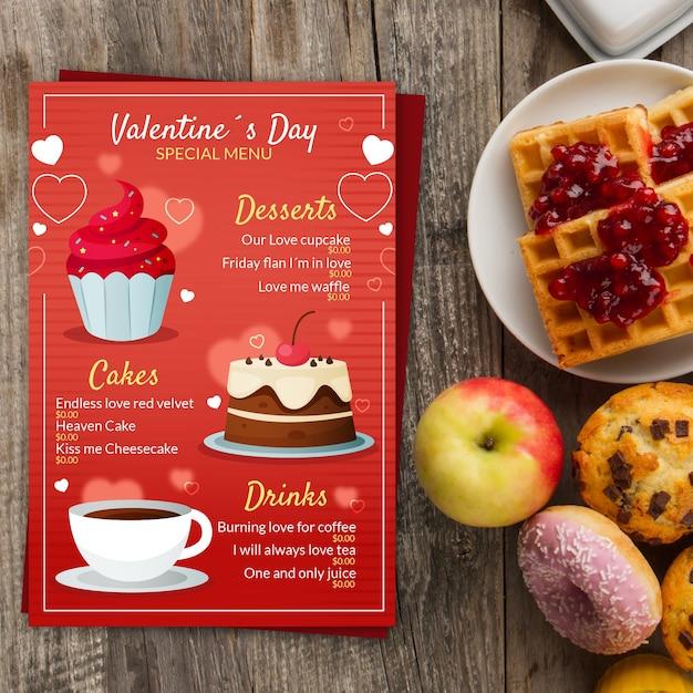Platte valentijnsdag menusjabloon Gratis Vector