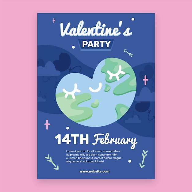 Platte valentijnsdag partij flyer / poster sjabloon Gratis Vector