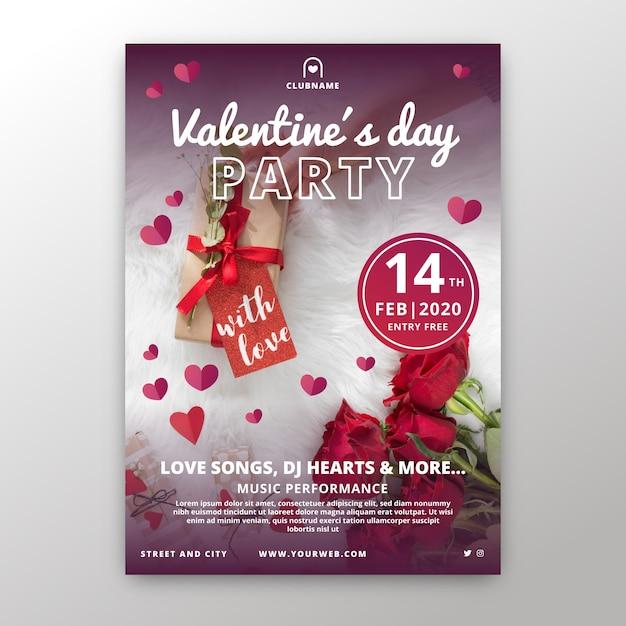 Platte valentijnsdag partij flyer / poster Gratis Vector
