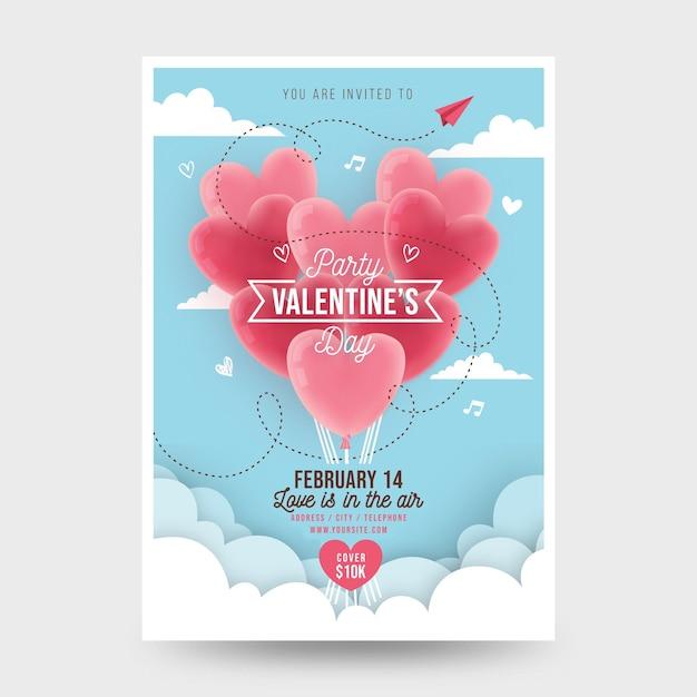 Platte valentijnsdag partij flyer Gratis Vector