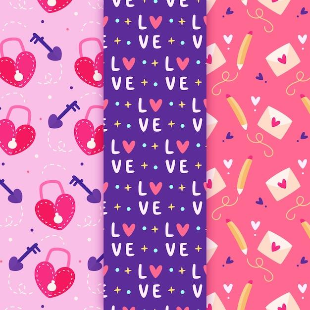Platte valentijnsdag patroon collectie Gratis Vector