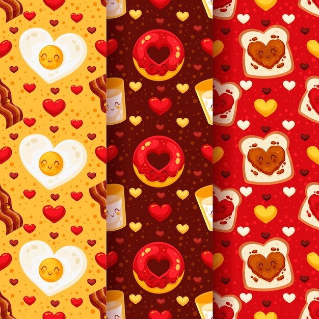 Platte valentijnsdag patroon pack Gratis Vector