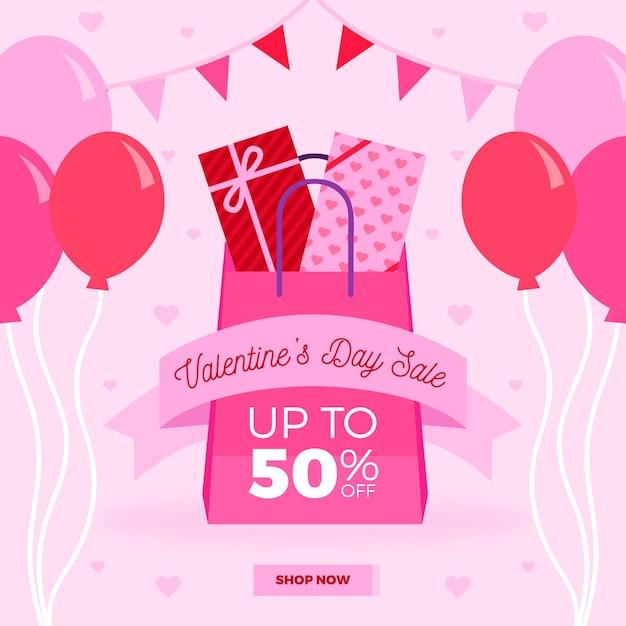 Platte valentijnsdag verkoop met ballonnen Gratis Vector