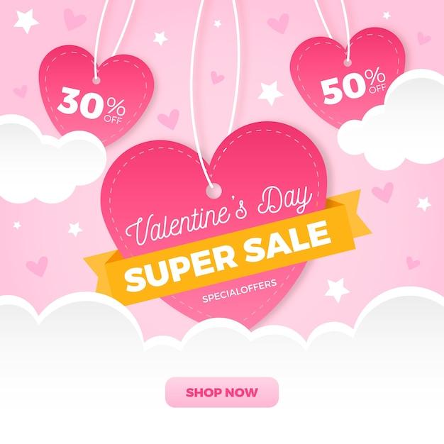 Platte valentijnsdag verkoop met harten Gratis Vector