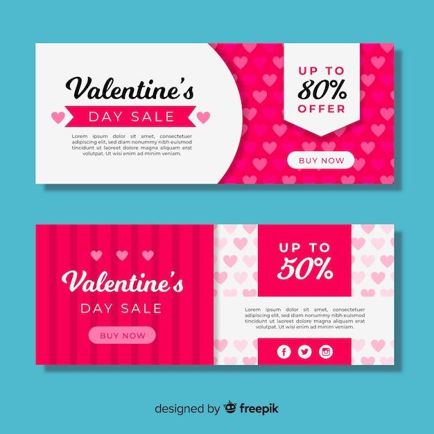 Platte valentine verkoop banner set Gratis Vector