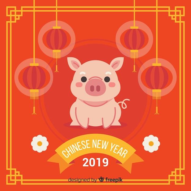 Platte varken chinees nieuwjaar achtergrond Gratis Vector
