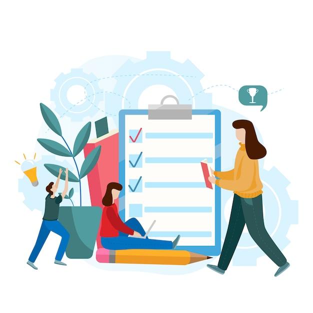 Platte vector concept van online examen, vragenlijst formulier, online onderwijs, enquête, internet quiz Premium Vector